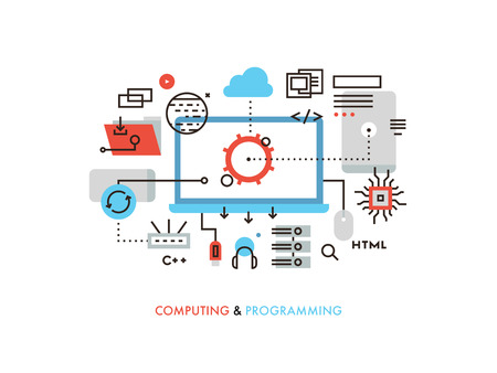 coding: Thin line flat design of cloud computing technology, wireless communication, website programming code, hosting service for developers. Modern vector illustration concept, isolated on white background.