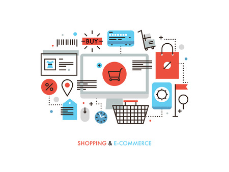 Thin line flat design of e-commerce website, purchasing goods via internet, online shopping cart with products, solution for customer. Modern vector illustration concept, isolated on white background. Illustration