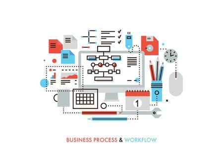 조직: 비즈니스 워크 플로우 조직, 마케팅 계획 흐름도, 사무실 관리 프로세스, 작업 용품의 얇은 라인 플랫 디자인. 흰색 배경에 고립 된 현대 벡터 일러스트 일러스트