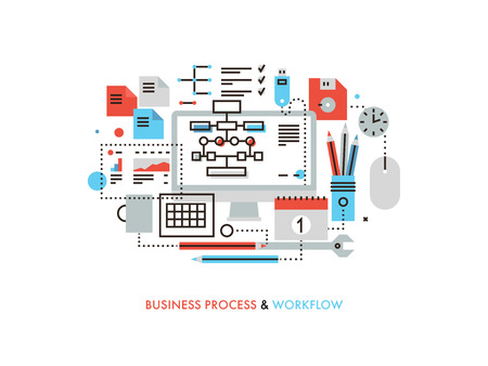 development process: Thin line flat design of business workflow organization, marketing planning flow chart, office management process, supplies for work.  Modern vector illustration concept, isolated on white background. Illustration