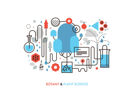 Thin line flat design of experimental plant biology, biochemistry process in nature, genetics cell development, botany science study. Modern vector illustration concept, isolated on white background.