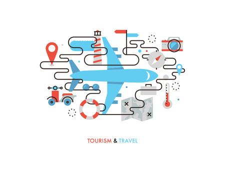adventure holiday: Thin line flat design of airplane travelling, commercial air plane flight journey, tourist vacation trip on airline transportation. Modern vector illustration concept, isolated on white background.