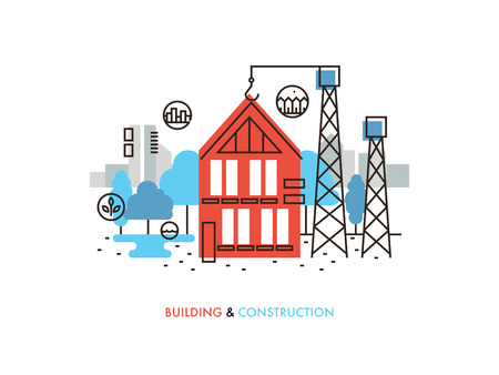live work city: Thin line flat design of constructing building process, house construction in progress, real estate architecture development. Modern vector illustration concept, isolated on white background. Illustration