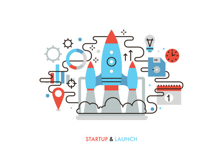 Thin line flat design of launching new business idea, rocket start for market innovation project, shuttle takeoff on a success mission. Modern vector illustration concept, isolated on white background. Vectores
