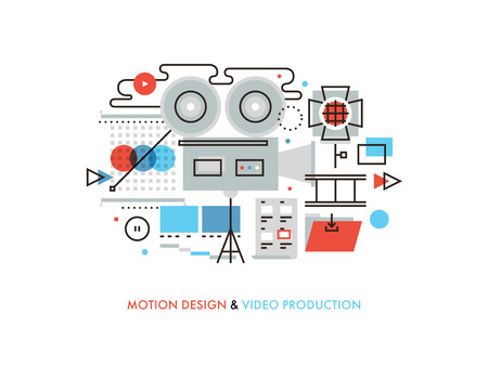 showreel: Thin line flat design of commercial video production studio, motion graphic and audio correction elements, lights and camera action. Modern vector illustration concept, isolated on white background.