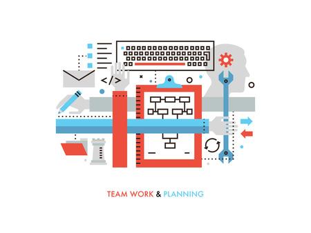 Dünne Linie flache Design der Teamarbeit Produktionsservice, Teamarbeit Strategieplanung, Zusammenarbeit im Bereich der Erfolgsprojekt, Entwicklungsprozess. Moderne Vektor-Illustration Konzept, isoliert auf weißem Hintergrund.