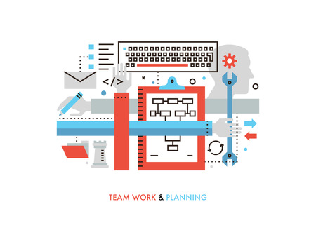 Thin line flat design of teamwork production service, team work strategy planning, cooperation on success project, development process. Modern vector illustration concept, isolated on white background.
