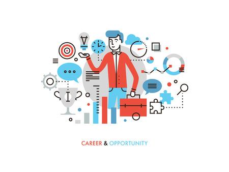 Diseño plano delgada línea de líder de negocios con la idea de éxito, las oportunidades de carrera para el desarrollo del liderazgo, ganador estrategia de marketing. Moderno concepto de ilustración vectorial, aislados en fondo blanco. Ilustración de vector