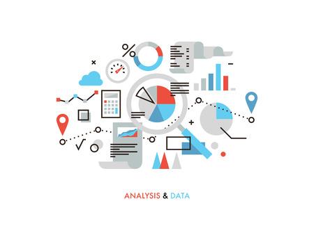 onderzoek: Dunne lijn platte ontwerp van zakelijke grafiek statistieken, big data-analyse, wereldwijde seo analytics, financieel verslag van onderzoek, de markt statistieken. Moderne vector illustratie concept, geïsoleerd op een witte achtergrond.