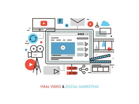 Diseño plano delgada línea de producción viral video, campaña de marketing digital, internet medio de comunicación de masas, el intercambio de medios de comunicación social. Moderno concepto de ilustración vectorial, aislados en fondo blanco.