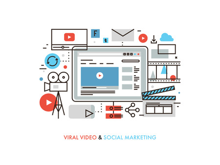 Thin line flat design of viral video production, digital marketing campaign, internet medium mass communication, social media sharing. Modern vector illustration concept, isolated on white background. Vettoriali