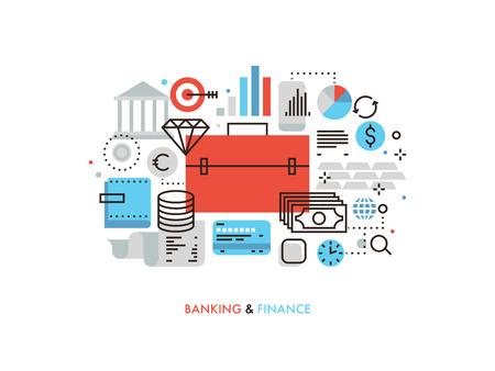 Diseño plano delgada línea de la cartera de inversiones y la estrategia de las finanzas, los servicios financieros para los negocios sociales, análisis del mercado de valores. Moderno concepto de ilustración vectorial, aislados en fondo blanco. Ilustración de vector