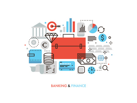 personal banking: Thin line flat design of investment portfolio and finance strategy, financial services for corporate business, stock market analytics. Modern vector illustration concept, isolated on white background.