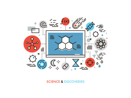 science icons: Thin line flat design of STEM academic disciplines, science education and knowledge about life evolution, chemistry research discovery. Modern vector illustration concept, isolated on white background.