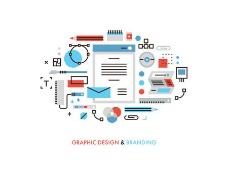 tvůrčí: Tenká linie ploché provedení užitečných designových grafických nástrojů, firemní barvy pro brandbook, navrhování nových vizuály pro tisk a balení. Moderní vektorové ilustrace koncept, izolovaných na bílém pozadí. Ilustrace