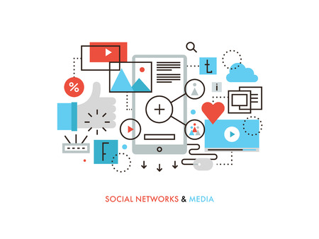 social networking service: Thin line flat design of social network communication, internet media services, web community for blogging, chatting and sharing news.  Modern vector illustration concept, isolated on white background.