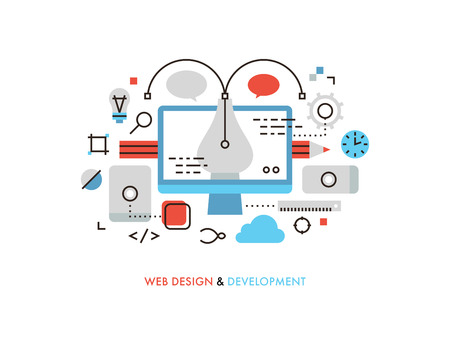 web development: Thin line flat design of web design graphics, pen tool for creating interface elements, mobile ui and ux frames, sketching for client. Modern vector illustration concept, isolated on white background.