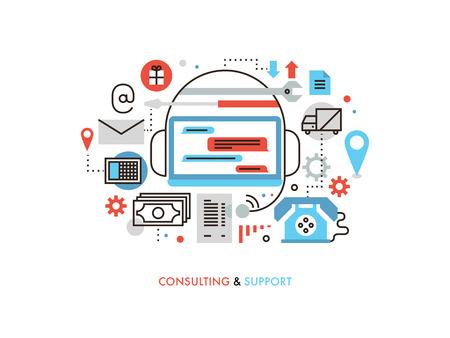 Müşteri hizmetleri bilgilerinin ince çizgi düz tasarım, teknik destek danışmanlık, sohbet online yardım, iş danışmanlığı merkezi. Beyaz zemin üzerine izole, modern vektör illüstrasyon kavramı.