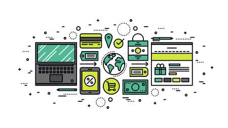 web commerce: Design sottile linea piatta di elaborazione on-line ordine commerciale, commerce web globale, soluzione negozio mercato di massa, Internet merci al dettaglio. Moderno concetto di illustrazione vettoriale, isolato su sfondo bianco.