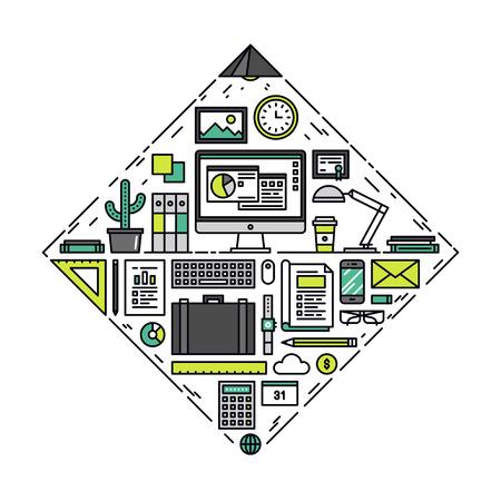Dunne lijn platte ontwerp van de macht van het bedrijfsleven essentiële items en kantoor dingen, organisatie proces voor de ontwikkeling van het project succes. Moderne vector illustratie concept, geïsoleerd op een witte achtergrond.
