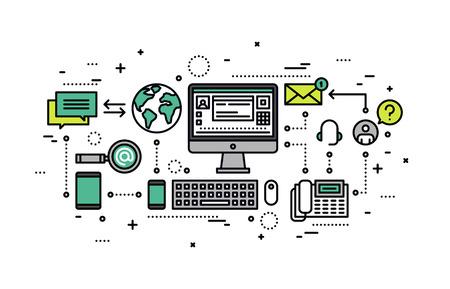 Cienka linia płaska pozyskiwania informacji, internetowej zapytania, wsparcie biznesu świadczy rozwiązanie, pomoc w organizacji obsługi klientów w Internecie. Nowoczesne ilustracji wektorowych koncepcji, samodzielnie na białym tle.