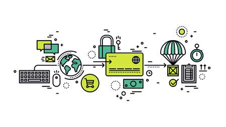 caja fuerte: Diseño plano delgada línea de la tarjeta de crédito de pago seguro de comprar bienes en la tienda en línea, comercio electrónico mundial métodos en tienda web de pago. Moderno concepto de ilustración vectorial, aislados en fondo blanco. Vectores