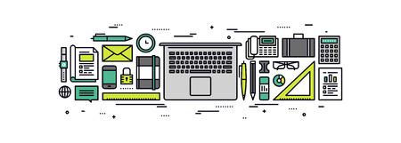 articulos oficina: Línea fina diseño plano de los aspectos esenciales de negocio suministros, ordenador portátil con las herramientas y equipo de oficina, vista desde arriba sobre la mesa de trabajo con los accesorios. Moderno concepto de ilustración vectorial, aislados en fondo blanco. Vectores