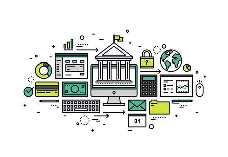 Diseño delgado línea plana de la cuenta bancaria en línea, transacción de dinero seguro, acceso a computadoras para el servicio financiero y la operación del negocio. Moderno concepto de ilustración vectorial, aislados en fondo blanco.