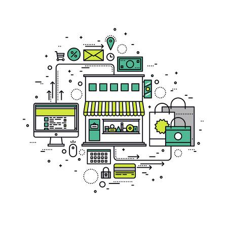 compras: Diseño delgado línea plana de los bienes de compra en la tienda en línea, proceso de venta las compras por Internet, sitio de comercio electrónico para la orden por el cliente. Moderno concepto de ilustración vectorial, aislados en fondo blanco. Vectores