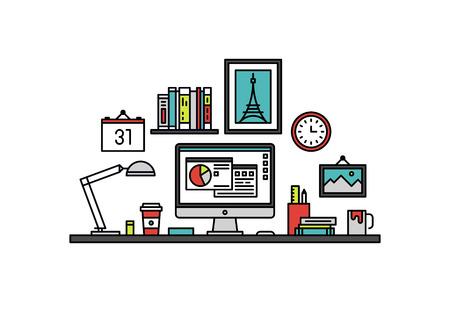 contabilidad: Diseño delgado línea plana del gerente de negocios el lugar de trabajo con utensilios de escritorio y oficina, presentación gráfico financiero en una pantalla de monitor. Moderno concepto de ilustración vectorial, aislados en fondo blanco.
