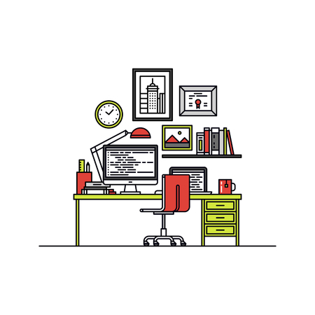 Thin line flat design of developer desktop with computer and laptop, html code of website on a screen, minimalistic office interior. Modern vector illustration concept, isolated on white background.