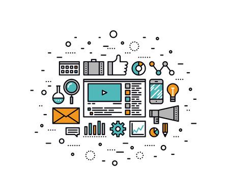 Dunne lijn platte ontwerp van social media marketing, online business oplossing, viral video productie en promotie, digitale strategie idee. Moderne vector illustratie concept, geïsoleerd op een witte achtergrond.