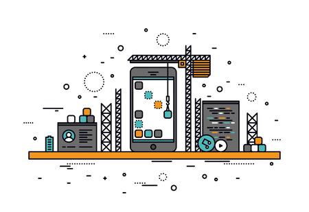 schöpfung: Dünne Linie flache Design von mobilen Anwendungen Baustelle Smartphone-Benutzeroberfläche Bauprozess, API-Codierung für Telefon-Anwendung. Moderne Vektor-Illustration Konzept, isoliert auf weißem Hintergrund.