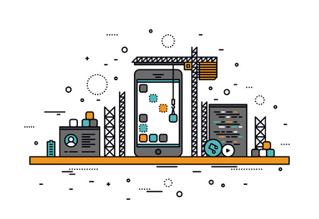 Thin line flat design of mobile apps construction site, smartphone user interface building process, api coding for phone application. Modern vector illustration concept, isolated on white background.