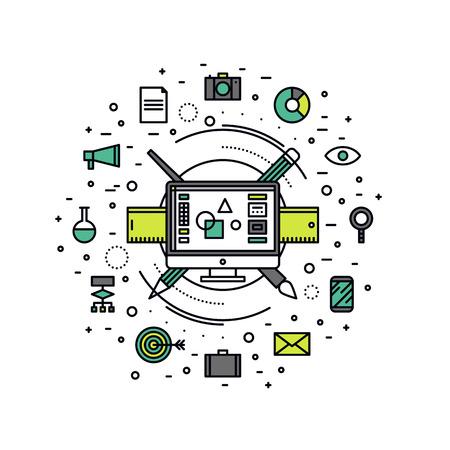 조직: 그래픽 디자이너 필수 장비의 얇은 라인 평면 디자인, 웹 광고 및 디지털 아트를 만들기위한 컴퓨터 디자인 편집기. 흰색 배경에 고립 된 현대 벡터 일러스트 레이 션