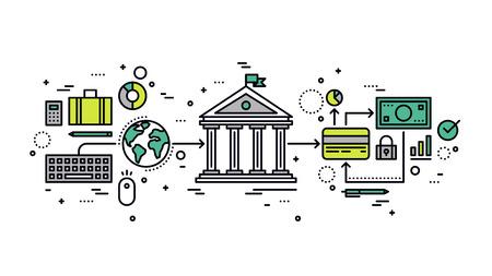 Diseño plano delgada línea de transacción de banca por Internet, transferencia de dinero segura mediante tarjeta de crédito, operaciones de negocios financieros en línea. Moderno concepto de ilustración vectorial, aislados en fondo blanco.