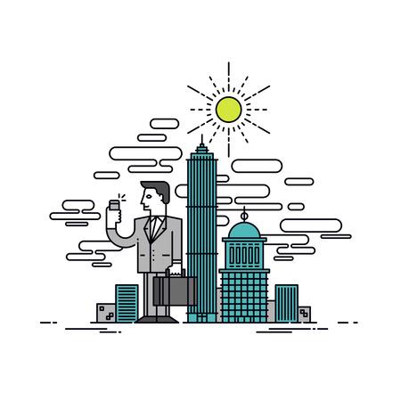 細い線携帯電話と手、都市のビジネス街、高層ビル都市景観におけるポートフォリオ立っている実業家のフラットなデザイン。 モダンなベクトル イ