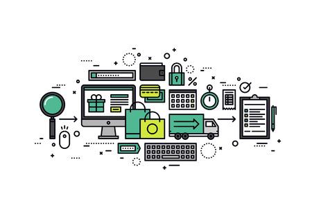 orden de compra: Diseño plano de línea delgada de solución de negocio de comercio electrónico, los consumidores de Internet en busca de bienes, almacenar proceso de compra web con tarjeta de crédito. Moderno concepto de ilustración vectorial, aislados en fondo blanco. Vectores