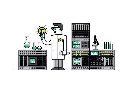 Diseño plano delgada línea del científico del laboratorio que sostiene fórmula solución, descubrimiento médico para el cuidado de la salud, la sustancia química analizar en un matraz. Moderno concepto de ilustración vectorial, aislados en fondo blanco.