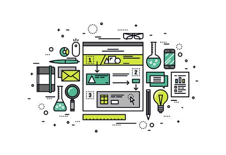 Diseño delgado línea plana de la construcción de escenarios de uso fácil, la investigación experiencia web del usuario, dibujo historia web para la estructura de la usabilidad. Moderno concepto de ilustración vectorial, aislados en fondo blanco.