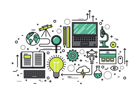 교육: 얇은 라인 지식의 힘의 평면 디자인, STEM 학습 과정, 응용 과학 자체 교육, 연구를위한 컴퓨터 기술. 흰색 배경에 고립 된 현대 벡터 일러스트 레이 션 개념.