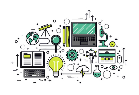 기술: 얇은 라인 지식의 힘의 평면 디자인, STEM 학습 과정, 응용 과학 자체 교육, 연구를위한 컴퓨터 기술. 흰색 배경에 고립 된 현대 벡터 일러스트 레이 션  일러스트
