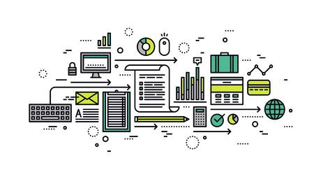 Diseño plano delgada línea de análisis en línea de negocio, análisis de la estrategia de marketing, estadísticas de optimización de búsqueda, la investigación de la información. Moderno concepto de ilustración vectorial, aislados en fondo blanco.