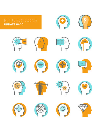 Line icons with flat design elements of mental health and autism problem, human brain process, people mind transformation, head thinking. Modern infographic vector icon pictogram collection concept. Vettoriali