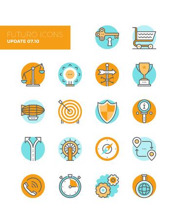 brujula: Iconos Línea con elementos planos de diseño del símbolo de solución de negocio, el equilibrio del mercado, objetivo objetivo de marketing, clave para el éxito, varias metáforas. Icono del vector de colección concepto pictograma infografía moderna.
