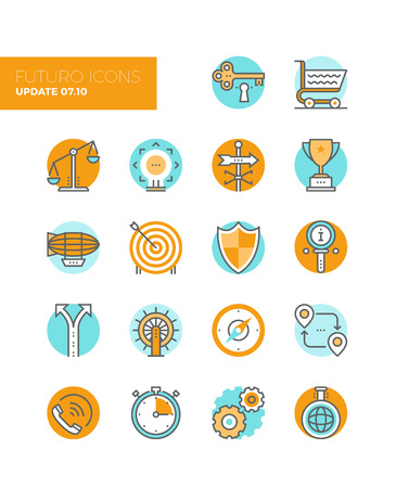 challenges: Line icons with flat design elements of business solution symbol, market balance, marketing goal target, key to success, various metaphors. Modern infographic vector icon pictogram collection concept.