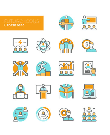 Line icons with flat design elements of team building organization, leadership development, personal training, business people management. Modern infographic vector icon pictogram collection concept. Vettoriali