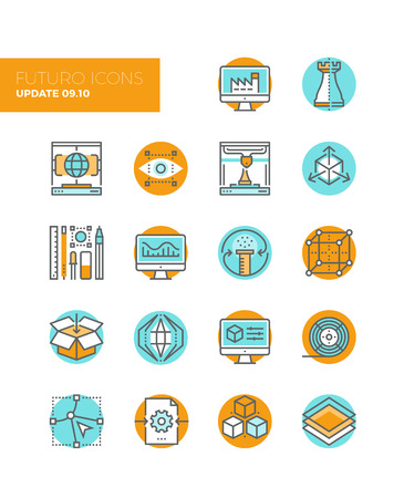 production line: Line icons with flat design elements of 3D printing technology, digital manufacturing modeling and sketching, graphic modification tools. Modern infographic vector icon pictogram collection concept.