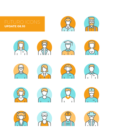 female teacher: Line icons with flat design elements of people avatars profession, professional human occupation, basic characters set, employee variety. Modern infographic vector icon pictogram collection concept. Illustration