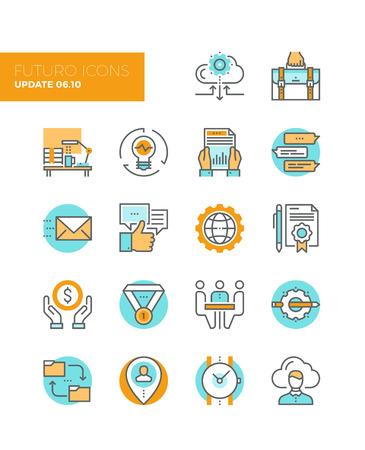 Iconos Línea con elementos de diseño de planos de flujo de trabajo de los negocios sociales, solución en la nube para los pequeños equipos, desarrollo de puesta en marcha y gestión. Icono del vector de colección concepto pictograma infografía moderna.